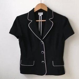 Short sleeves vintage black and cream blazer